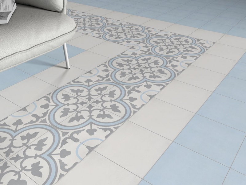 Carreau ciment bleu perfect mosaique x verre motif carreau ciment bleu marron beige x x cm with - Carreaux de ciment bleu ...
