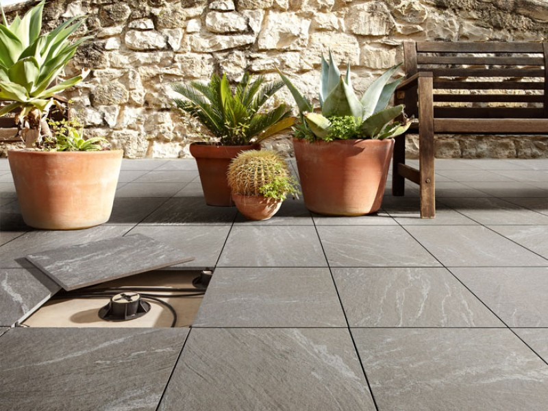 Carrelage aspect pierre naturelle gris